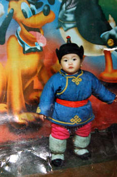 Picture of child wearing Mongolian Boots