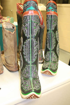 Another view of Mongolian Boots acquired by Bata Shoe Museum