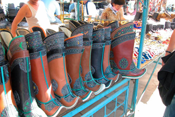 New Mongolian Boots being sold  in flea market