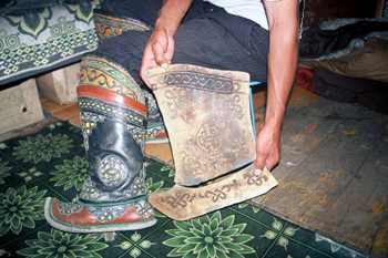 Mold used to make Mongolian Boot decorations